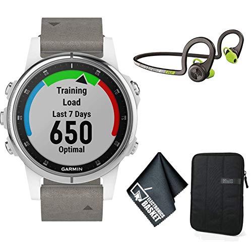 Garmin Fenix 5S Plus Sapphire Edition Multi-Sport Training GPS Watch (White w/Gray Suede Band) Standard Accessory Bundle