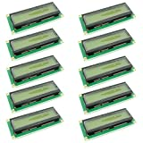 Optimus Electric 10pcs 1602 LCD 16x2 Character Display Module Yellow-Green Backlight 5V from