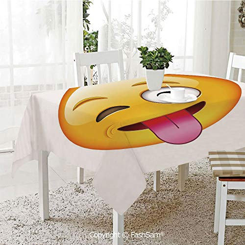 AmaUncle 3D Print Table Cloths Cover Cartoon Like Technologic Smiley Flirty Sarcastic Happy Face with Tongue Modern Print Resistant Table Toppers (W60 -