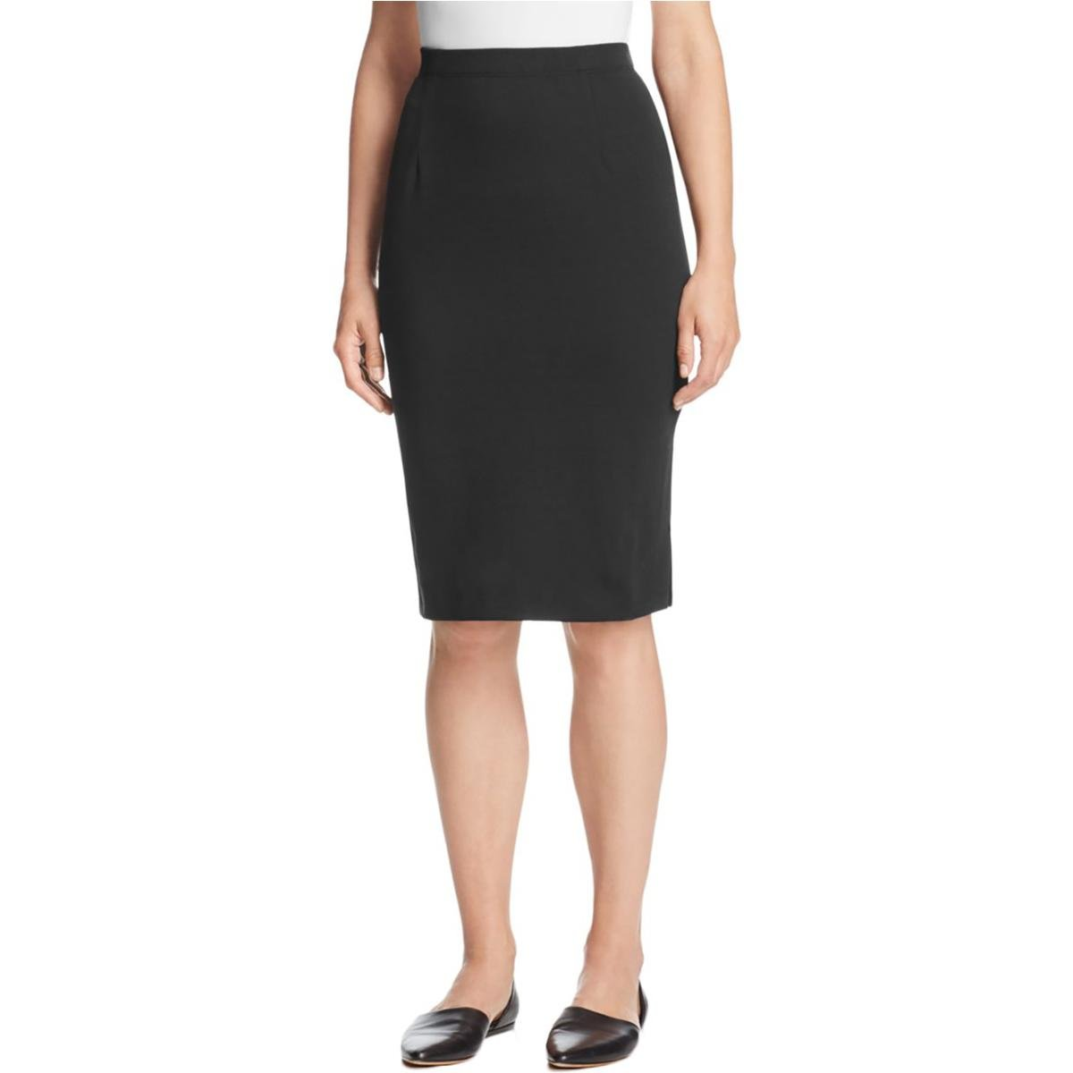 Eileen Fisher Womens Petites Knee Length Elastic Pencil Skirt Black PP by Eileen Fisher