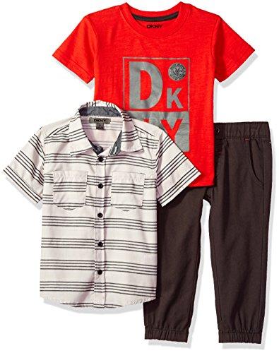 DKNY Boys' Little Sport, Knit Shirt and Pant Set, Phantom-KBBG, ()