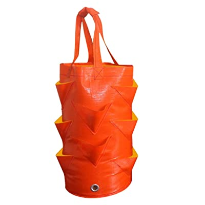 Strawberry Planting Growing Bag,MKLEKYY 3 Gallons Multi-Mouth Container Bag,Hanging Strawberry Planters,Grow Planter Pouch Root Bonsai Plant Pot,PE Planting Container Bag,Garden Supplies (Orange): Baby
