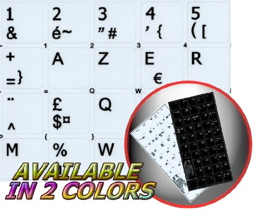 FRENCH AZERTY KEYBOARD STICKERS WHITE BACKGROUND (14x14) FOR DESKTOP, LAPTOP AND NOTEBOOK