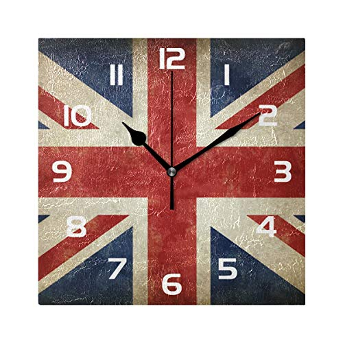 TropicalLife Wall Clock Vintage UK Flags Union Jack Flag Decorative Square Clock Non Ticking Art Decor for Bedroom Living Room Kitchen Bathroom Office School