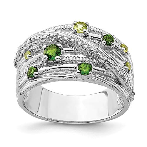 Sterling Silver Rhod-plat Chrome Diopside and Peridot Ring - Size 7