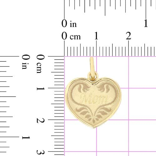 Light Weight Mom Laser Engraved Heart Pendant Charm 14k Yellow Gold