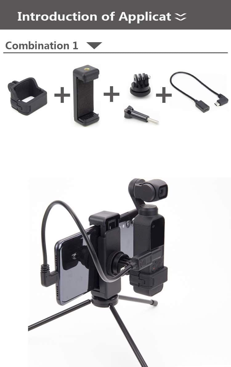 MeterMall New for OSMO Pocket Mount Tr Backpack Clip for DJI for OSMO Pocket Accessories Combination 2.3: for Micro USB Male to Type C Female