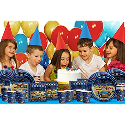 Birthday Galore Monster Truck Party Supplies Set Plates Napkins Cups Tableware Kit for 16: Toys & Games
