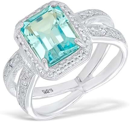 3.0CT Blue Topaz 0.05CT Diamond 14K White Gold-Plated Sterling Silver Split Shank Ring