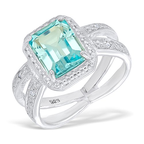 3.0CT Blue Topaz 0.05CT Diamond 14K White Gold-Plated Sterling Silver Split Shank Ring, Size - Split Topaz Shank