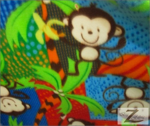 MONKEY POLAR FLEECE FABRIC- MONKEY JUNGLE - ONLY $4.99/YARD SOLD BTY (Monkey Fleece Fabric)