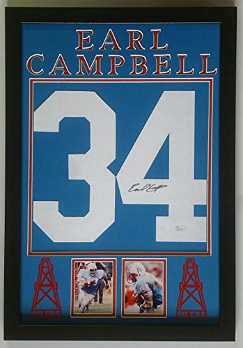 Earl Campbell Signed Autographed Jersey Number Houston Oilers Framed 16x24 JSA
