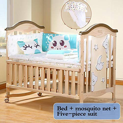 XY Crib Bed/Crib/Gift Luxury Baby Bedding (Cotton )/ Wood Color (Color : 4, Size : L)