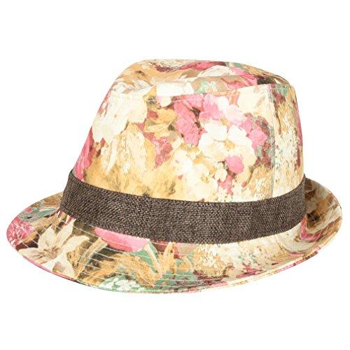 ililily Floral Printed Vintage Fedora Hat Contrast Color Hat Band Panama Hat (fedora-522-2)