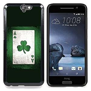 "Qstar Arte & diseño plástico duro Fundas Cover Cubre Hard Case Cover para HTC One A9 (Tarjeta del trébol del trébol Arte Planta Juego Poker Verde"")"