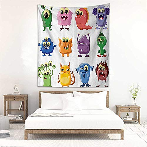 Godves Tapestry Wall Hanging Funny Decor Animated Bacteria Aliens Theme Germ Whimsical Cartoon Monsters with Humor Faces Graphic Artwork Living Room Background Decorative Painting 70