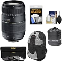 Tamron 70-300mm f/4-5.6 Di LD Macro 1:2 Zoom Lens with Built-in Motor + 3 UV/CPL/ND8 Filters + Sling Backpack + Pouch Kit for Nikon D3200, D3300, D5200, D5300, D7000, D7100 Digital SLR Cameras