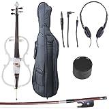 Cecilio CECO-1WH Ebony Fitted Silent Electric Cello, Style 1, Metallic White, 4/4 (Full Size)