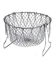 Deep Foldable Colander Fry Basket Food Grade 304 Stainless Steel Mesh Basket Steam Rinse Strainer Fry Filter Kitchen Sieve Chef Basket Multifunctional Safe Telescopic Folding Cooking Tools