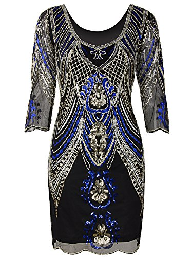 Vijiv 1920s Flapper Dress With 3/4 Sleeve V Neck Squins Cocktail Gatsby Dresses Black Blue X-Large -