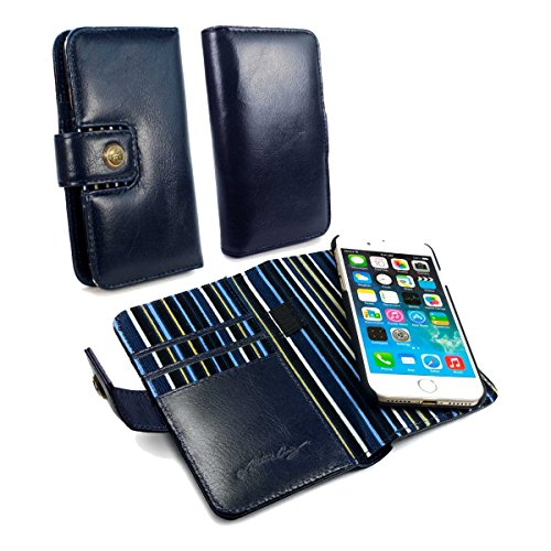 Alston Craig Genuine Vintage Leather Magnetic Wallet Case Cover (with RFID Blocking) for iPhone 7 - Navy Blue by Alston Craig