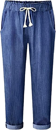 Romancly Womens Soft Style Baggy Curling Denim Pants Trousers Comfort Jeans