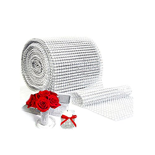 Glitter Holiday Bling Ribbon (Silver Diamond Sparkling Rhinestone Mesh Ribbon for Event Decorations, Wedding Cake, Birthdays, Baby Shower, Arts & Crafts, 4.75