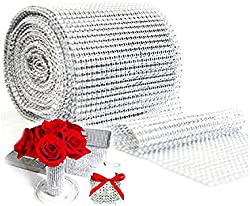 related image of Silver Diamond Sparkling Rhinestone Mesh Ribbon for