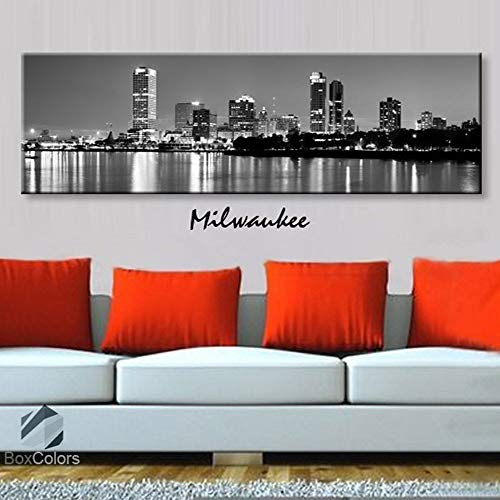 BoxColors - Single panel 3 Size Options Art Canvas Print Milwaukee City Skyline Panoramic Downtown Night black & white Wall Home Office decor (framed 1.5