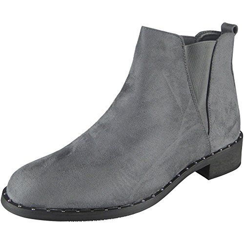Flats Pull 8 On Grey 3 Studded Shoes Chelsea Low New Womens Boots Ankle Ladies Heel Size FW6g4EP4