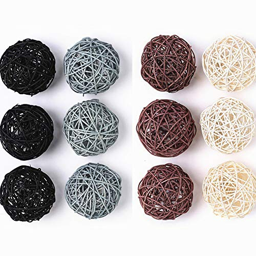 (Byher 12-Pack Large Wicker Rattan Balls - Decorative Balls for Bowls, Vase Filler, Coffee Table Decor, Wedding Party Decoration)