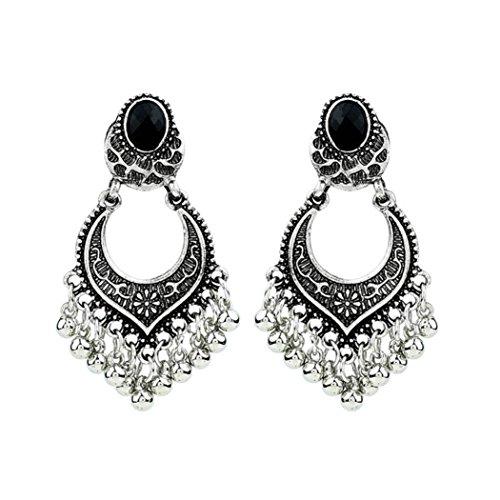 Earrings Clearance, Paymenow Women Girls Retro Carved Tassel Party Beach Holiday Stud Earrings Vintage Drop Earrings Eardrop (Silver)