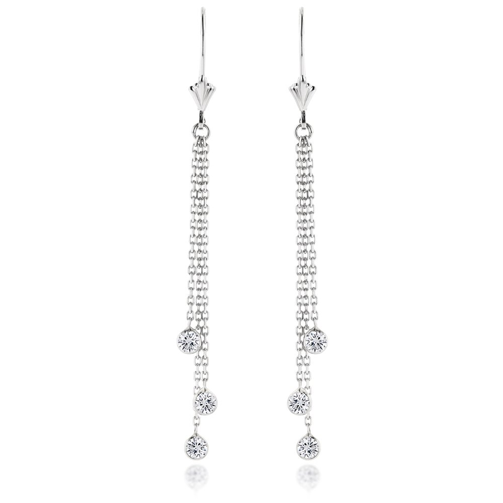 Ladies 14k Gold Chandelier Earrings With Diamonds By The Yard 0.6ctw G-H color (White Gold)