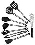BoriHome Kitchen Utensils - 8 Piece Cooking Utensils - Silicone and Stainless Steel Black Modern Cooking Nonstick Eco friendly-Serving Tongs, Spoon, Spatula Tools, Pasta Server, Ladle Strainer, Whisk