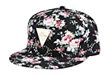 Yonala Fashion Floral Snapback Hip-Hop Hat Flat Peaked Baseball Cap for Four Seasons