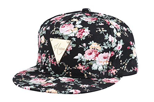 Yonala Fashion Floral Snapback Hip Hop Hat Flat Peaked Baseball Cap for Four Seasons,Black,One - Snapback Floral Hat