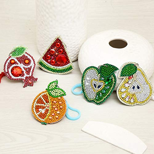 - Overstep 5 Pieces/Set of Acrylic Beautiful Cute Generous Special Diamond DIY Fruit Shape Keychain 5D Diamond Painting Cross Stitch Crafts Keychain