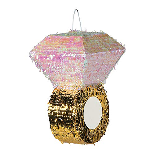 Diamond Ring Metallic Pinata - Wedding and Bachelorette Party Decorations