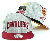 Mitchell & Ness NBA Team Logo History Flat Brim Snapback Cap (Adjustable, Cleveland Cavaliers, Grey)