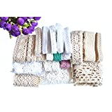 RayLineDo® 20 Meters Assorted Vintage Style Cotton Lace Ribbon Trim Bridal Wedding Scalloped Edge Crochet Lace DIY Sewing Accessory Collection A