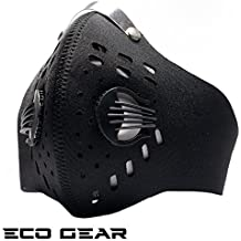 ECO-GEAR Anti Pollution Face Mask with Military Grade N95 Protection | Anti Smoke, Exhaust Gas, Dust, Pollen, Allergens | Hiking, Running, Walking, Cycling, Ski and other Outdoor Activities (Black)