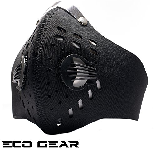 ECO-GEAR Anti Pollution Face Mask with Military Grade N95 Protection | Anti Smoke, Exhaust Gas, Dust, Pollen, Allergens | Hiking, Running, Walking, Cycling, Ski and Other Outdoor Activities (Black)]()