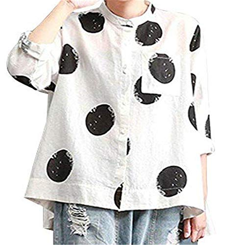 Aniywn Women Large Size Long Sleeve Vintage T-Shirt Casual Flare Hem Tops Women Polka Dot Print Button Blouse White
