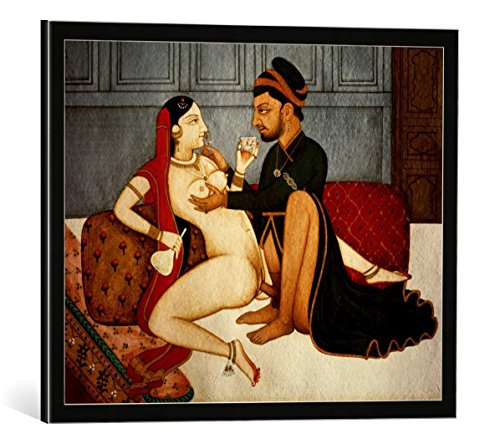 kunst für alle Framed Art Print: AKG Anonymous Lovers Tantra-Art 18 19th Century - Decorative Fine Art Poster, Picture with Frame, 19.7x15.7 inch / 50x40 cm, Black/Edge Grey