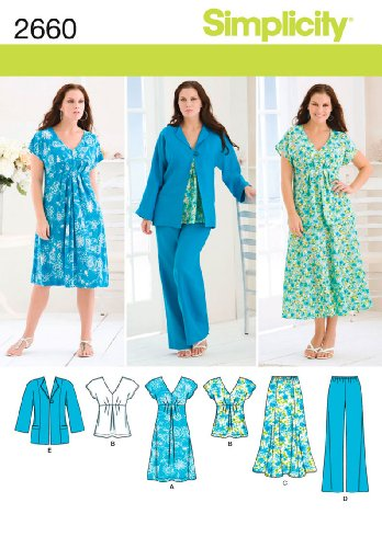 Simplicity Pattern 2660 Womens Skirt, Pants, Dress or Top and Jacket Sizes 20W-28W