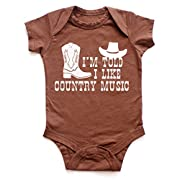 I'm Told I Like Country Music Silhouette Baby Bodysuit (0-3 months/newborn, Brown)