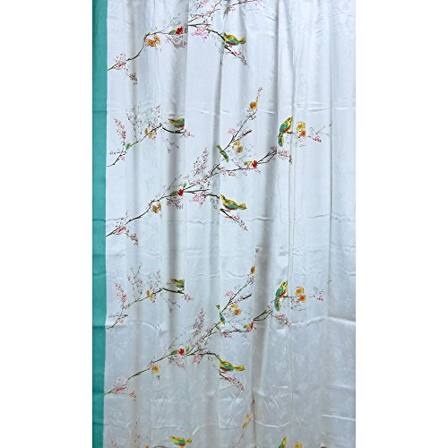 Lenox Simply Fine Chirp Shower Curtain, Multi-Color (Birds Shower Curtain)