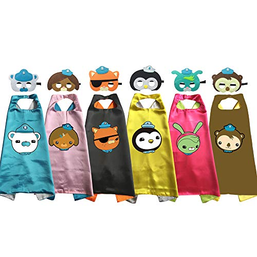 Octonauts Costumes Cape Mask Kids Birthday Party Shellington Kwazii Barnacles Dashi Peso Cosplay (6pcs Party Set) -