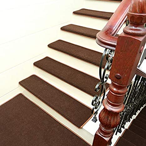 Color : Brown, Size : 65cmx24cmx3cm Set of 15 Stair Pads 65x24cm Step Carpet Stair Tread Non Slip Adhesive Rug Protection Mats