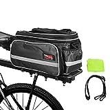 Arltb Bike Rear Bag (3 Colors) 20-35L Waterproof Bicycle Trunk Bag Rain Cover Shoulder Strap Bike Pannier Tail Back Seat Bag Package Handbag Bike Accessories Road Bikes Mountain